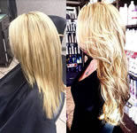 Ashley Grey Salon: Blonde wavy extensions side